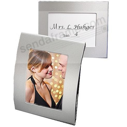 Modern arched silver placecard frames