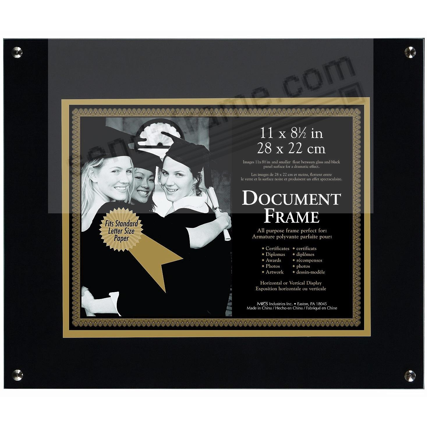 ONYX FLOAT Document frame for 11x8½ prints by MCS®