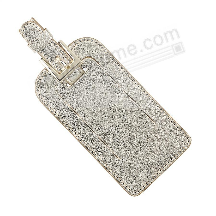 LUGGAGE TAG in METALLIC WHITE-GOLD Goatskin Leather by Graphic Image®