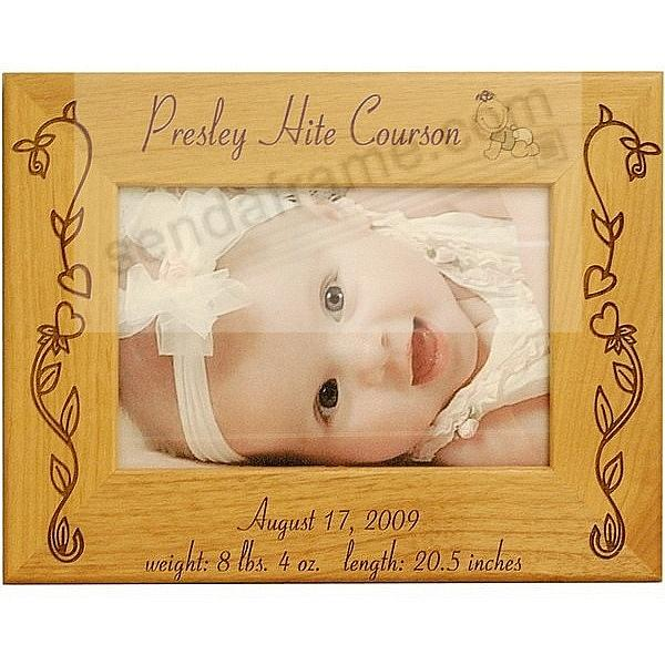Special BABY GIRL BIRTH RECORD Personalized Laser Etched keepsake frame
