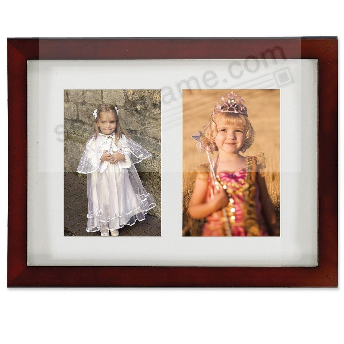Dark walnut bevelled frame w/collage mat for 2-4x6 prints by Lawrence Frames®