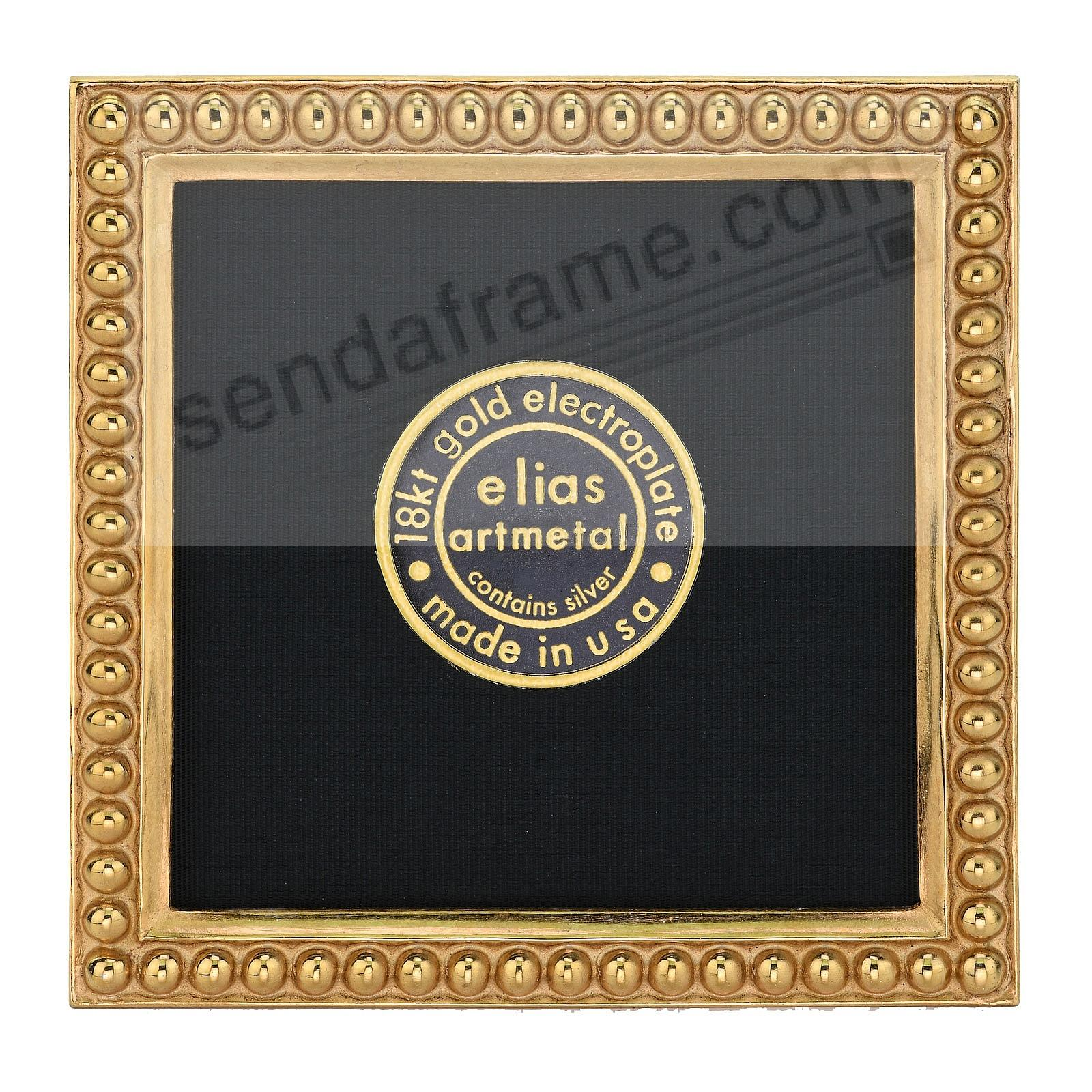 JUST BEADS 18kt Museum Gold over Fine Pewter Mini 3x3 frame<br>by Elias Artmetal&reg;