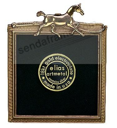 TROTTING HORSE & CROP 18kt Museum Gold over Fine Pewter by Elias Artmetal®