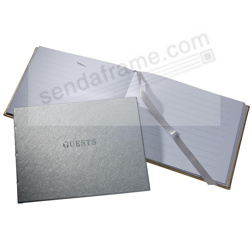 Saffiano-Silver eco-leather Guest Book for a lasting record by Graphic Image®
