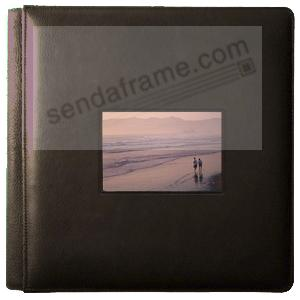 Fine-grain leather #113 TOP NOTCH Brown window album with 5-at-a-time pages by Raika®