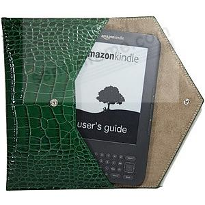 Croco-Green Fine Leather Nook® + Kindle® E-Reader Carry Envelope by Graphic Image™