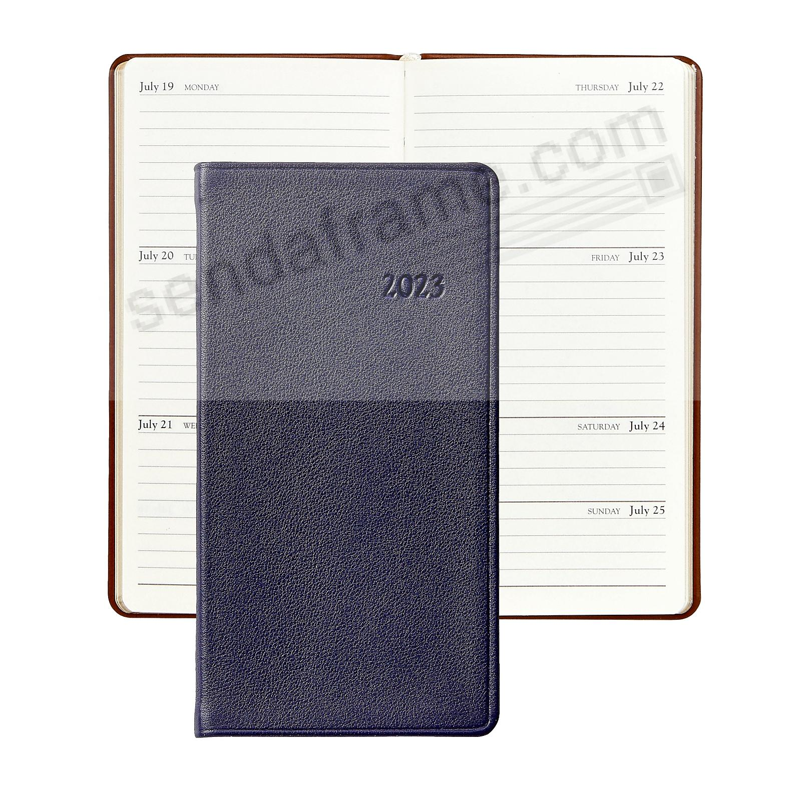 2018 TRADITIONAL-BLUE 6-inch Pocket Datebook Diary in Fine Calfskin Leather by Graphic Image™