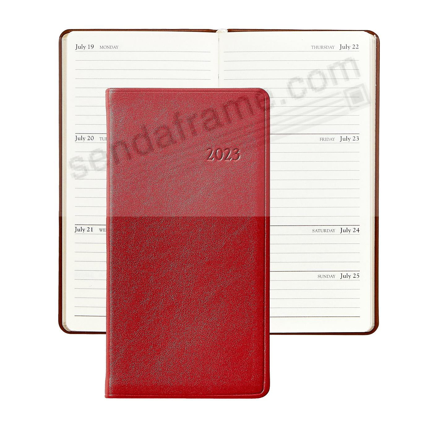 2019 TRADITIONAL-RED 6-inch Pocket Datebook Diary in Fine Calfskin Leather by Graphic Image™