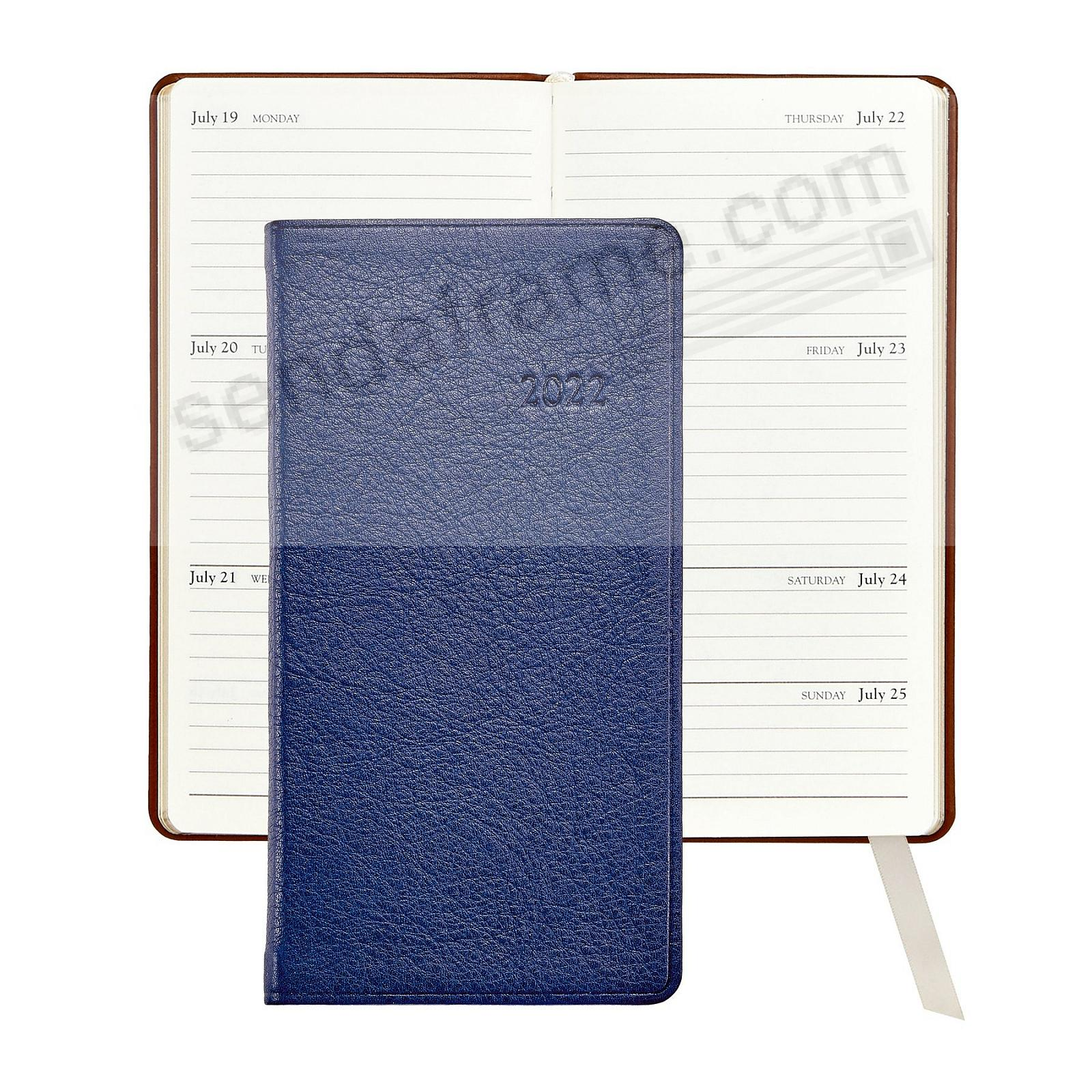 2018 TRADITIONAL-BLUE 5-inch Pocket Datebook Diary Fine Calfskin Leather by Graphic Image™