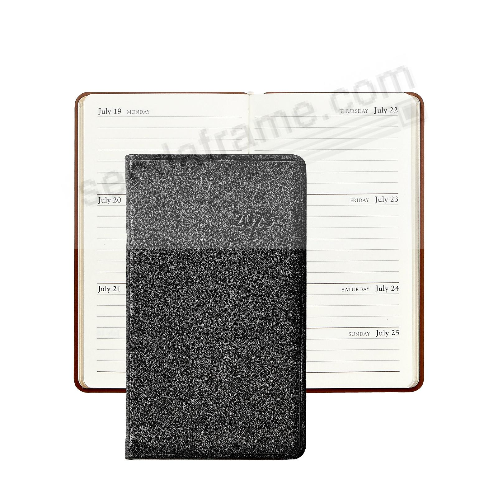 2018 BLACK 5in Pocket Datebook Diary in Fine Traditional Calfskin Leather by Graphic Image™
