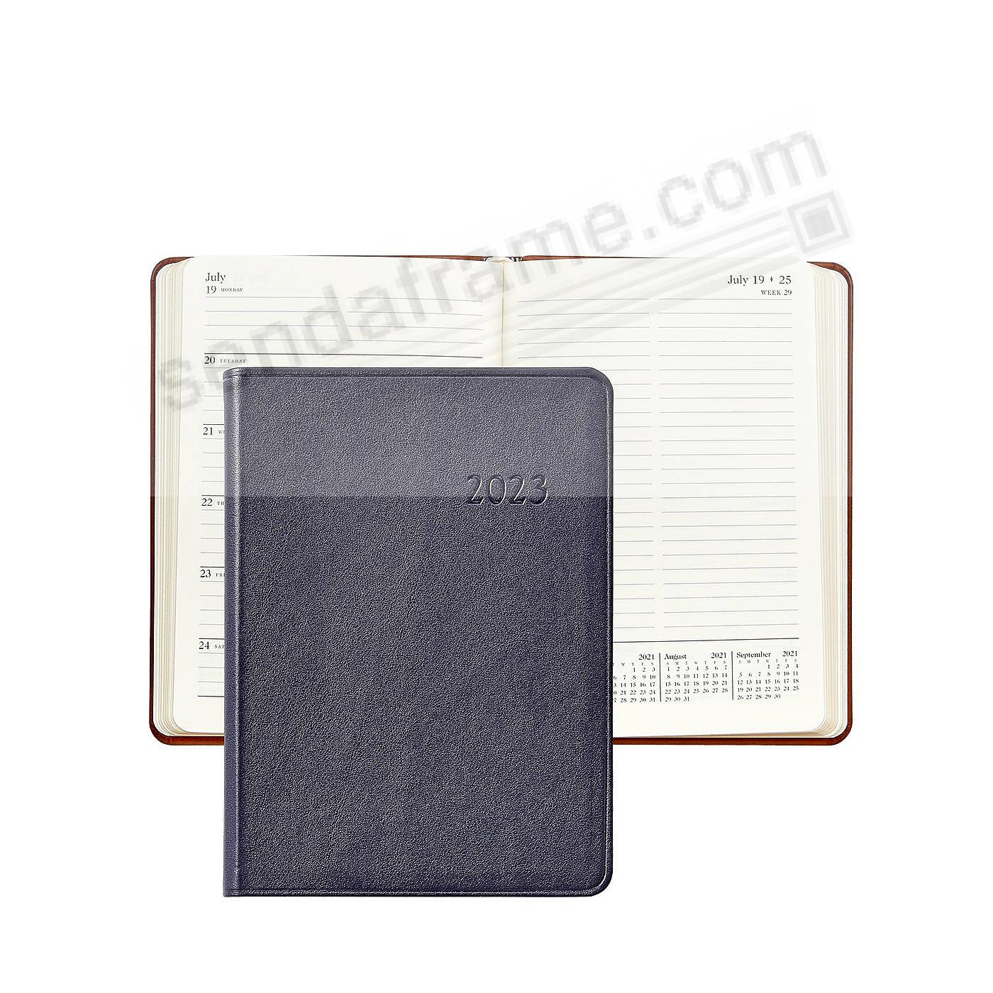 2019 Notebook Planner 7-in NAVY-BLUE Traditional Calfskin Leather by ...