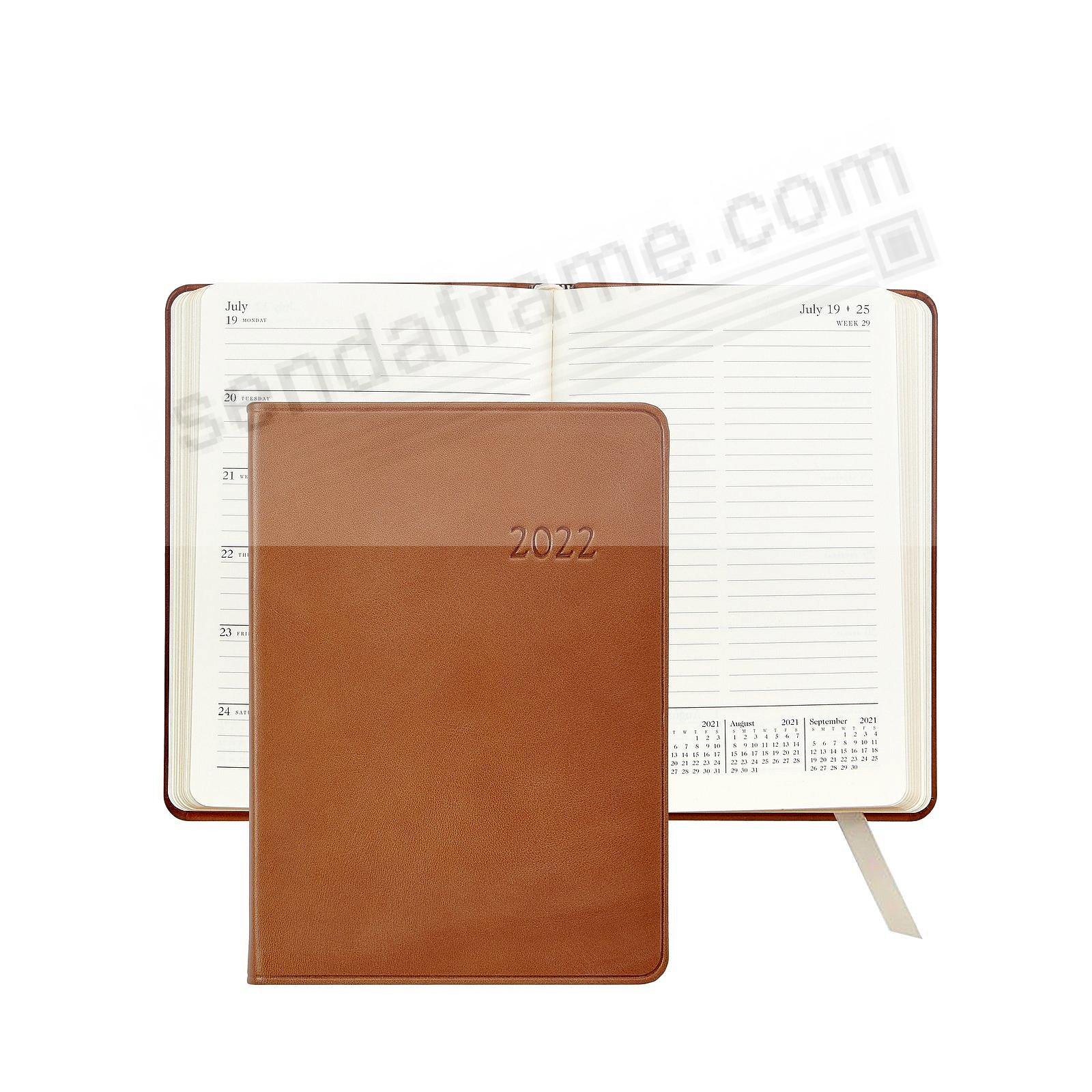 2020 Notebook Planner 7-in BRITISH-TAN Traditional Calfskin Leather by Graphic Image™