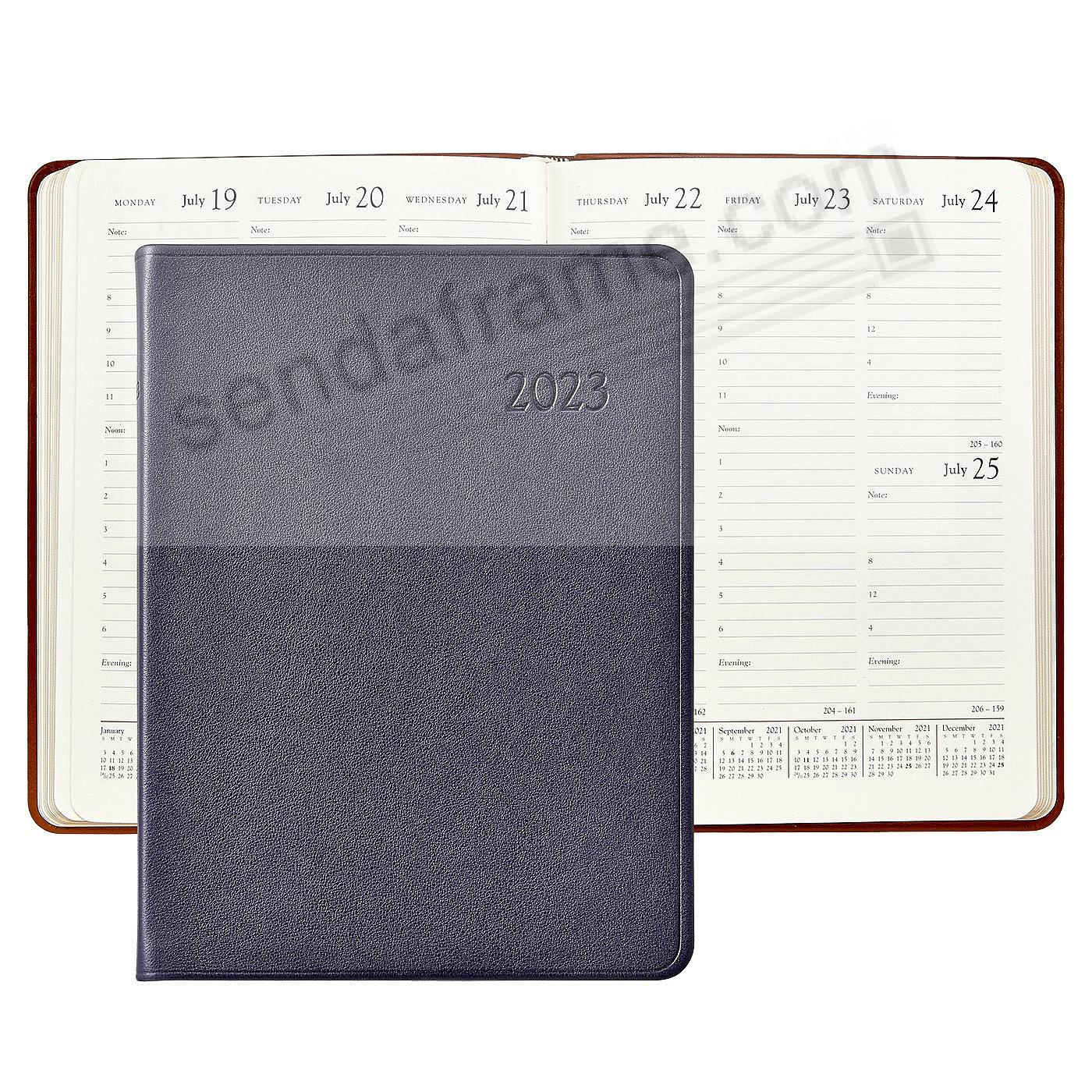 2021 Desk Diary 9inch TRADITIONAL-BLUE Calfskin Leather by Graphic Image™