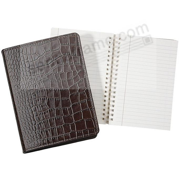 Wire-O-Notebook 7in Croco-Embossed Brown Fine Calfskin Leather by Graphic Image™