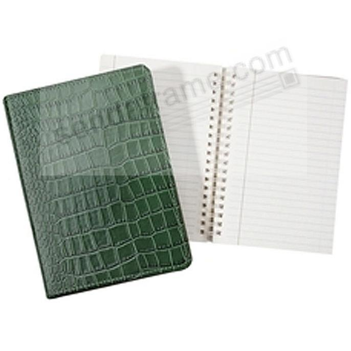Wire-O-Notebook 7'' Croco-Embossed Bottle-Green Fine Calfskin Leather by Graphic Image™