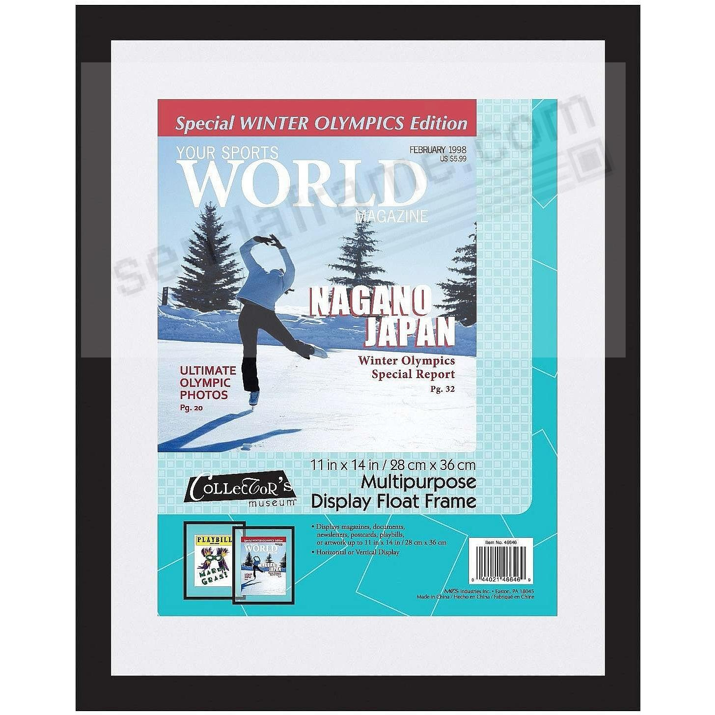 Ebony-black Multi-Purpose Float 11x14 frame for your Magazines / Documents / Newsletters and more