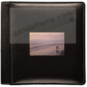 TOPNOTCH BLACK fine-grain leather #113 window album with 5-at-a-time pages by Raika®