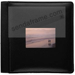 RODEO BLACK pebble grain leather #113F window album w/pocket pages for 8x10 prints by Raika®