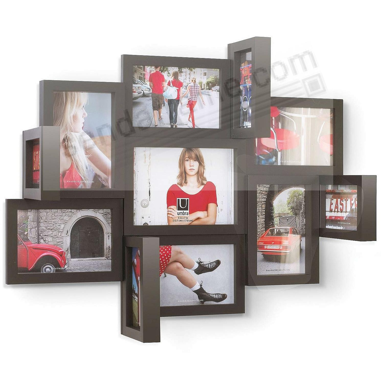 the original perspective black multiframe wall sculpture shows 15 photos by umbra