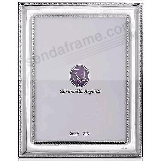 Luxurious ROMA double-beaded border sterling silver 5x7 frame by Zaramella Argenti® Italy