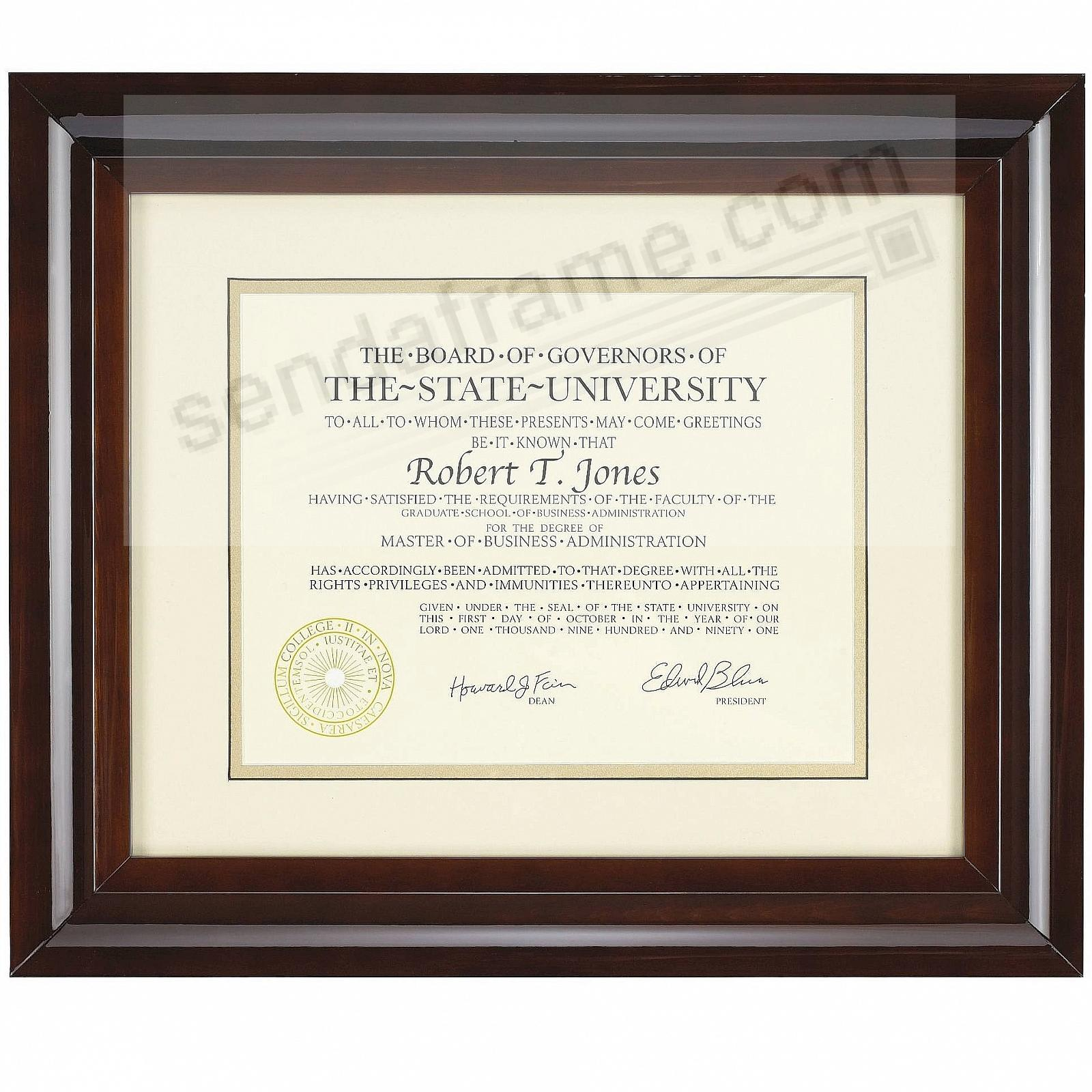 HAMPTON luxe walnut matted 15x12 / 11x8½ certificate frame by ...