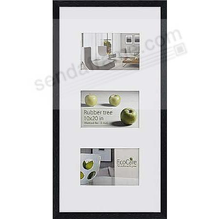 CONTEMPORARY Rubberwood Black-stain Matted frame displays (3)-4x6/10x20 prints by EcoCare®
