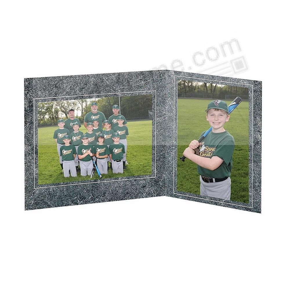 Team+Player 7x5/5x7 MARBLE-GRAY MEMORY MATES<br>Cardstock double photo frame (sold in 10's)