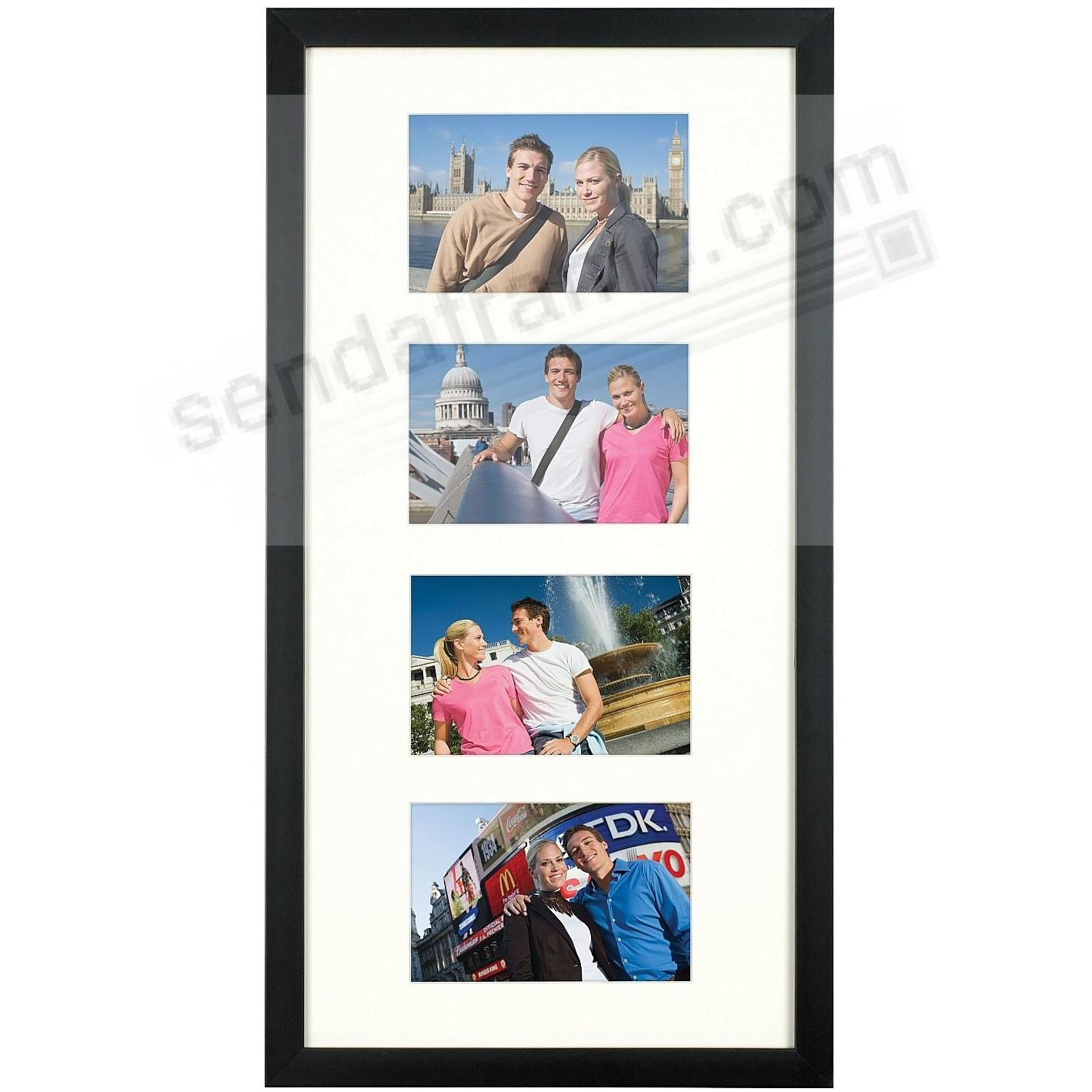 Matte-Black TRIBECA Archival Matted Wood frame for 4 - 4x6/10x20 by ARTCARE®