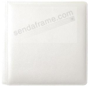 WHITE-WHITE grain leather #105F album with back/front pages by Raika®