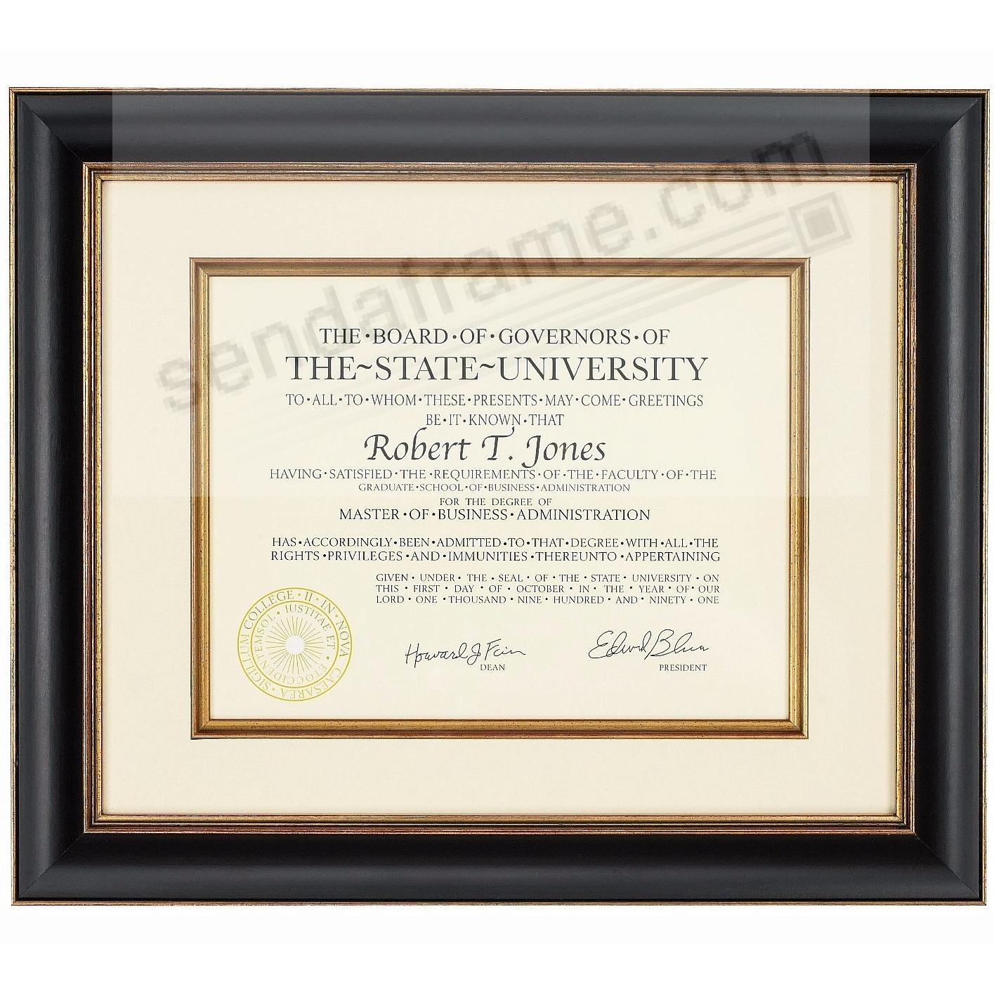 BLACK/GOLD TUSCAN Wood/matted certificate frame 15x12/11x8½ from ARTCARE® by Nielsen®