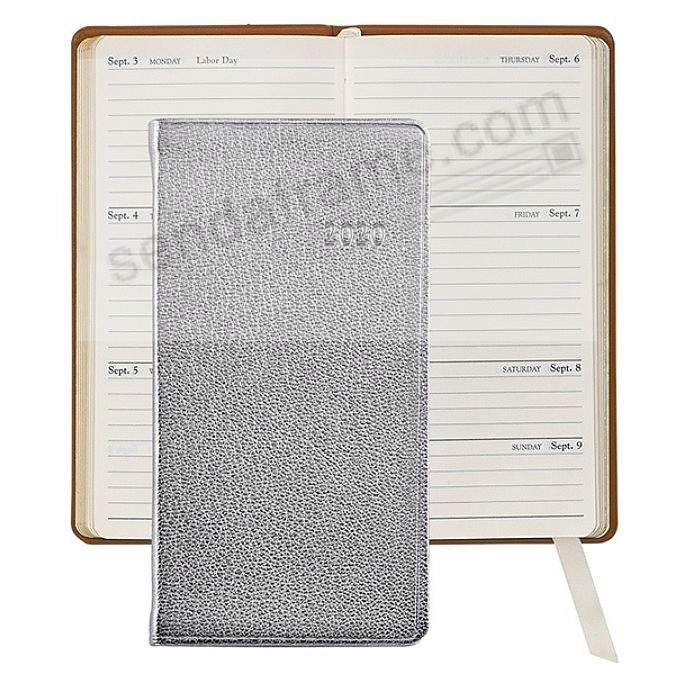 2020 METALLIC SILVER 6-in Pocket Datebook in Fine Leather by Graphic Image™
