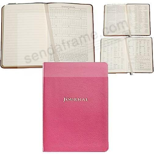 BRIGHTS-PINK Fine Leather 7'' Medium Travel Journal by Graphic Image™