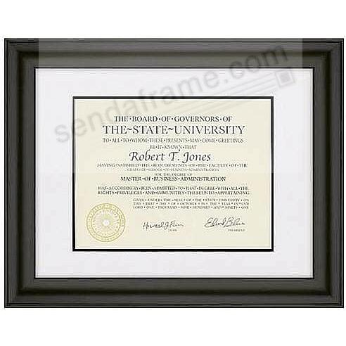 TREVISO Ebony-Black Wood /matted 15½x13 / 11x8½ ARTCARE certificate frame by Nielsen®