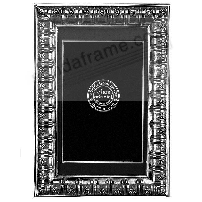 BIBLIOTHEQUE fine silver-pewter matted 9x12/8x10 frame by Elias Artmetal®