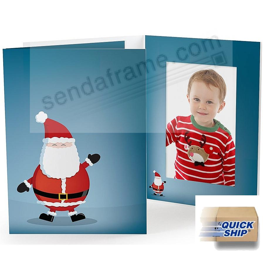 JOLLY SANTA Holiday Photo Folder for 4x6 (portrait) prints - Quick Ship!