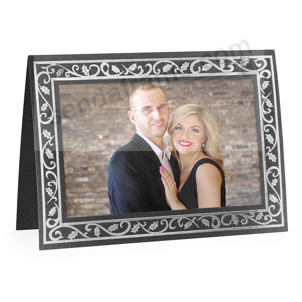 Embossed BLACK HOLLY BORDER<br>premium photo insert Holiday Card (sold in 10s)