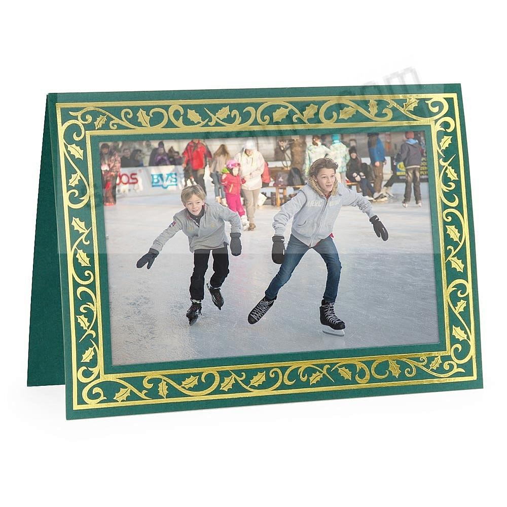 Embossed GREEN HOLLY BORDER<br>Premium Photomount insert Holiday Card (sold in 10s)