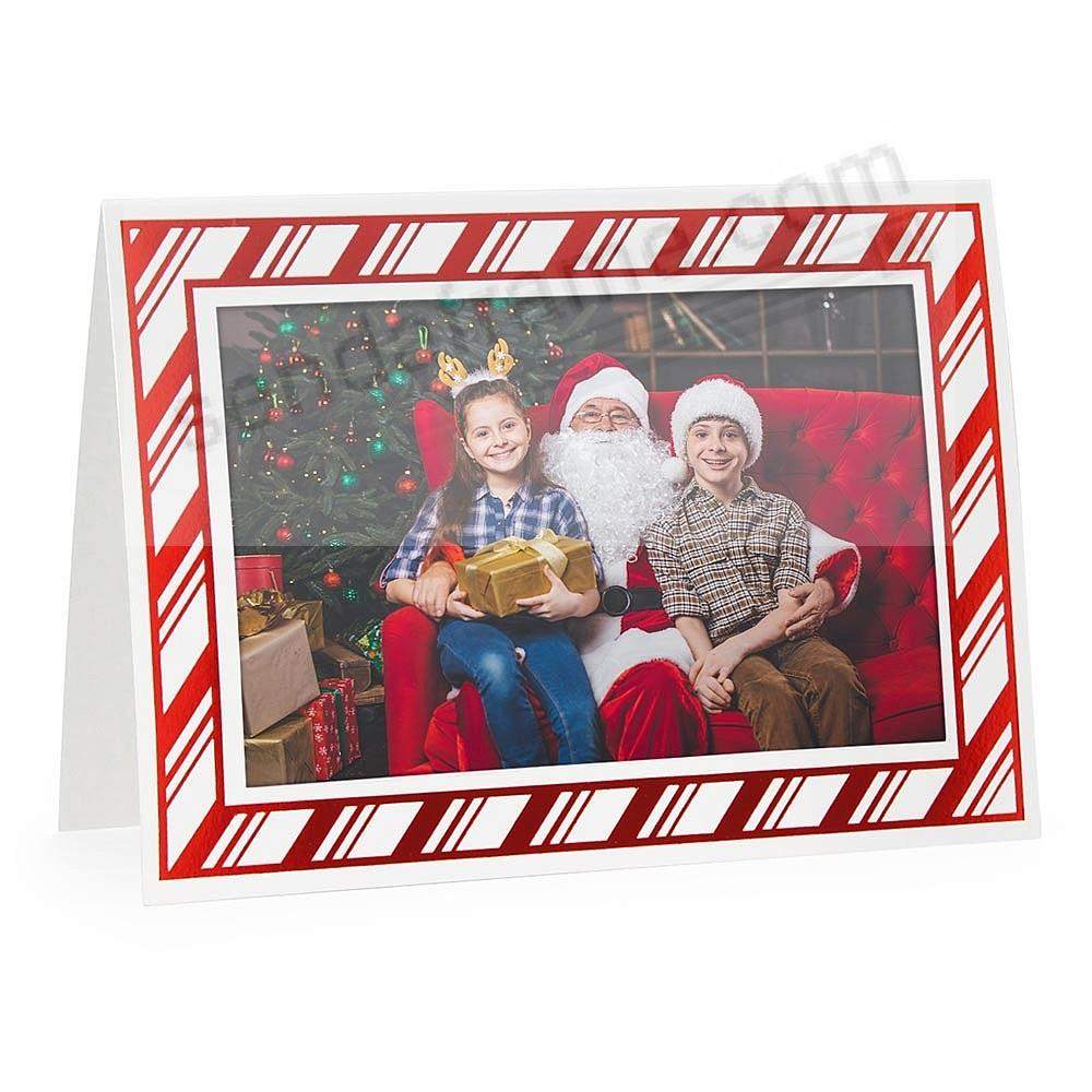 Embossed CANDY CANE<br>premium photo insert Holiday Card (sold in 10s)