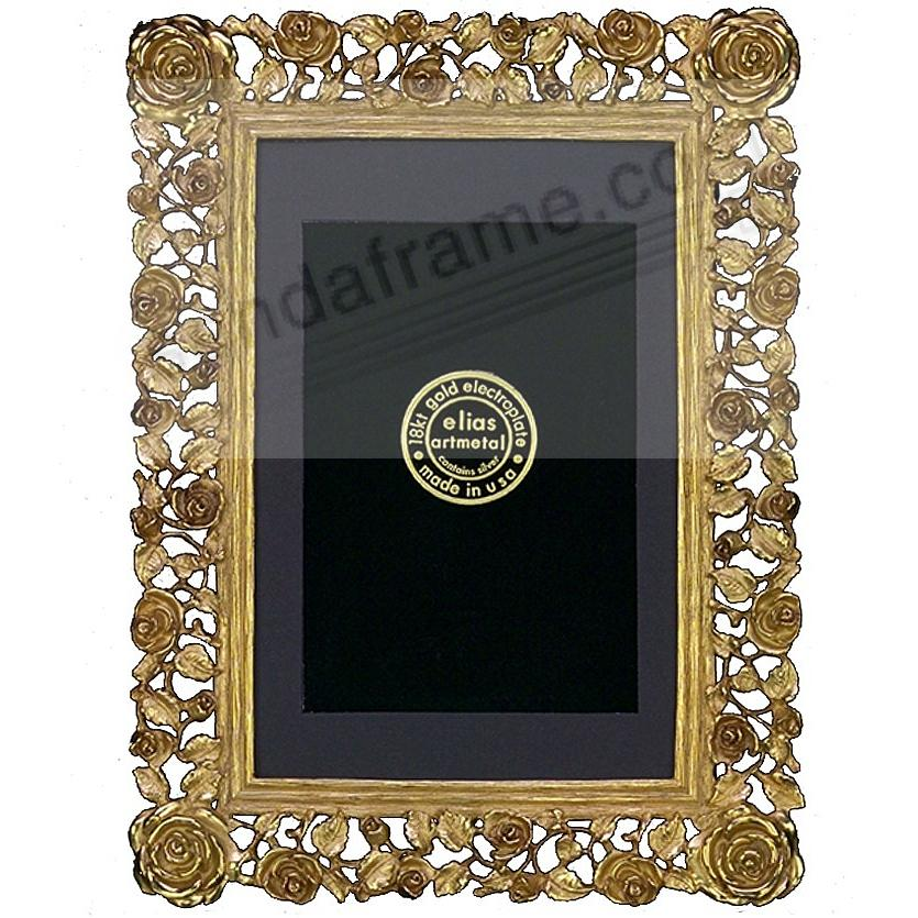 TRELLIS ROSE 18kt Museum Gold over fine pewter 8x10/7x9 by Elias Artmetal®