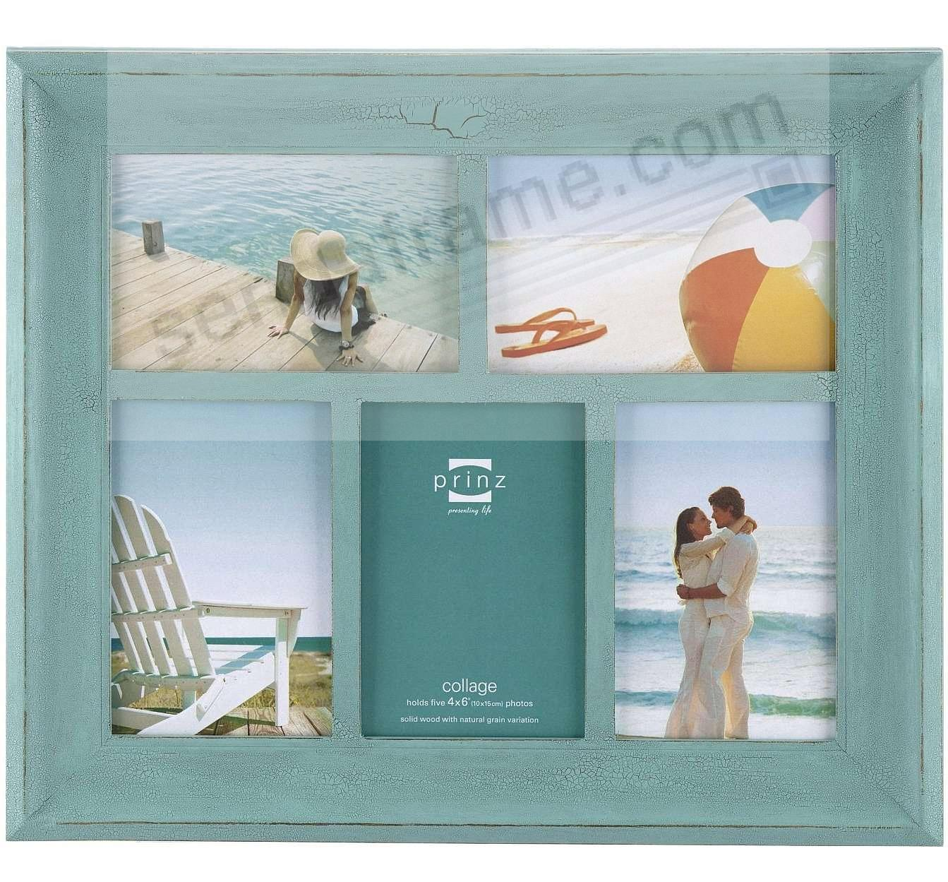 CLEARWATER Aquamarine-stain wood 5/4x6 collage frame by Prinz ...
