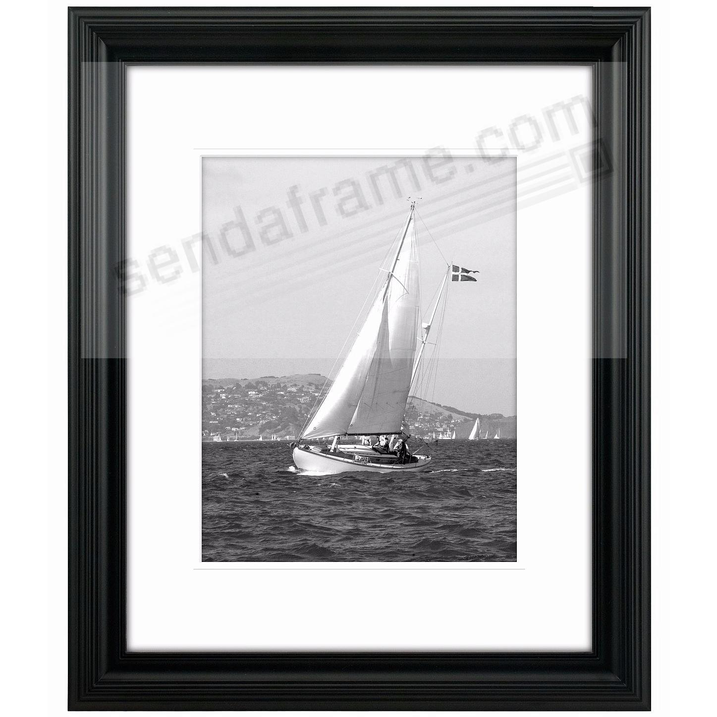 Black Portrait Matted 16x20 11x14 Stepped Frame By Malden