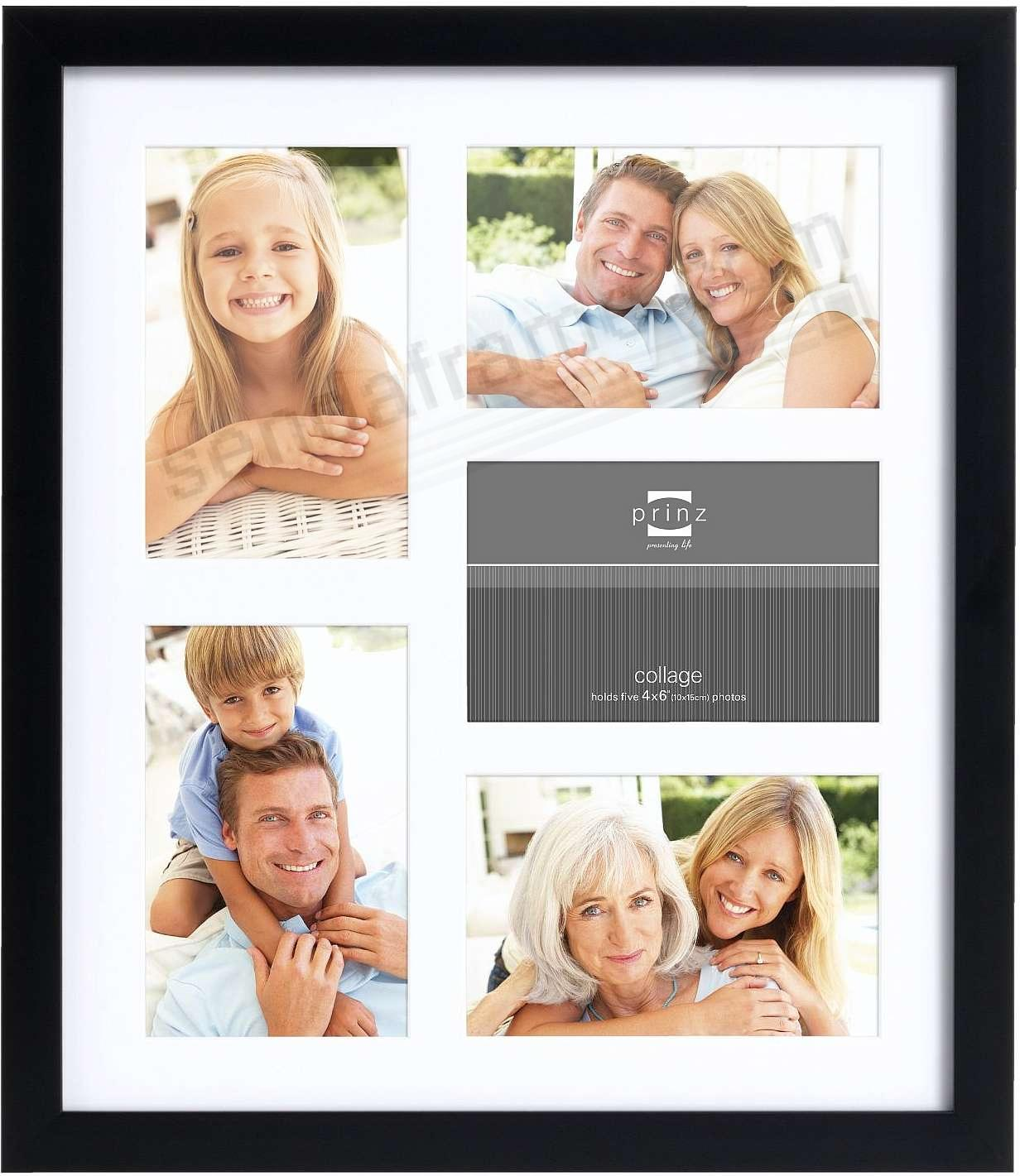 Matted black polystyrene collage frame for 5 - 4x6 prints by Prinz®