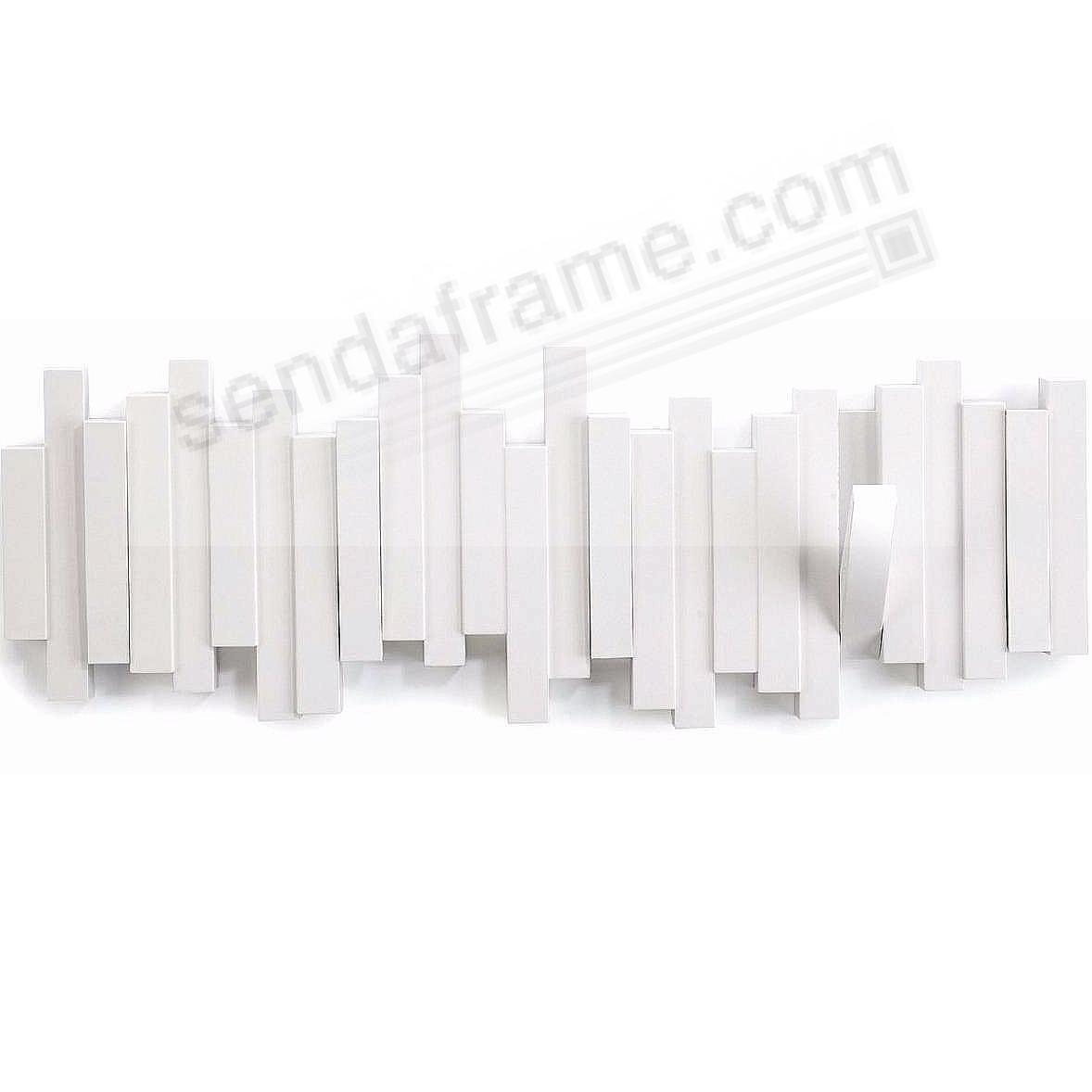 The Original Sticks White Wood Wall Mount Coat Rack With 5