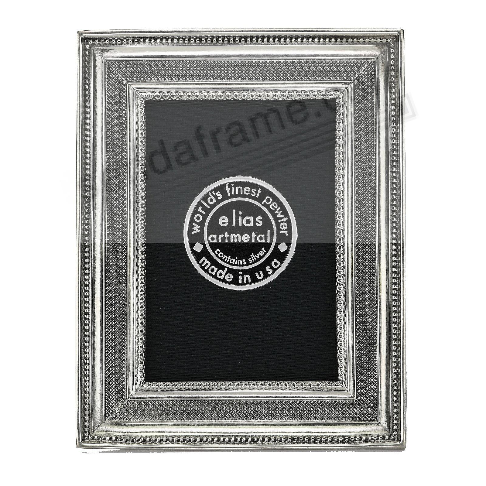 REGENCE Cross-hatched and Mini-bead 2½x3½ frame Fine Pewter by Elias Artmetal®