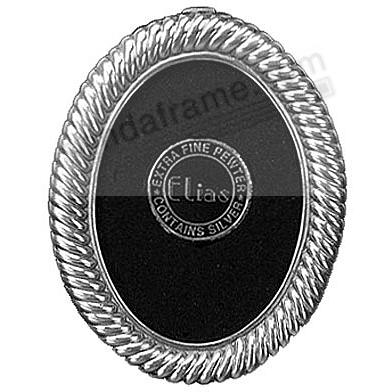 SCROLLING MINI-OVAL Fine Silvered Pewter by Elias Artmetal®
