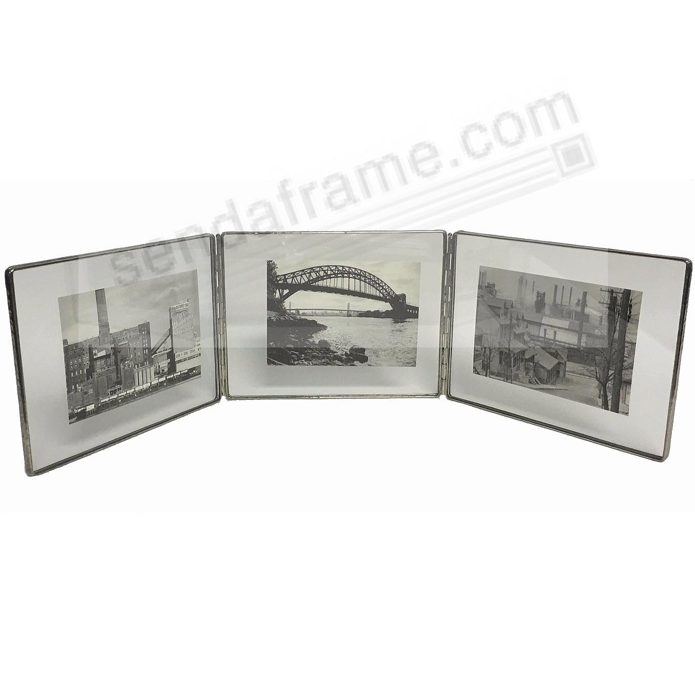SILVER + Clear Glass Float Frame 7x5½/6x4 Horiz Hinged Triple by Bedford Downing®
