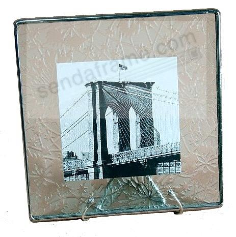 Etched-Pattern Glass Float Frame 4x4/5x5 Silver by Bedford Downing®