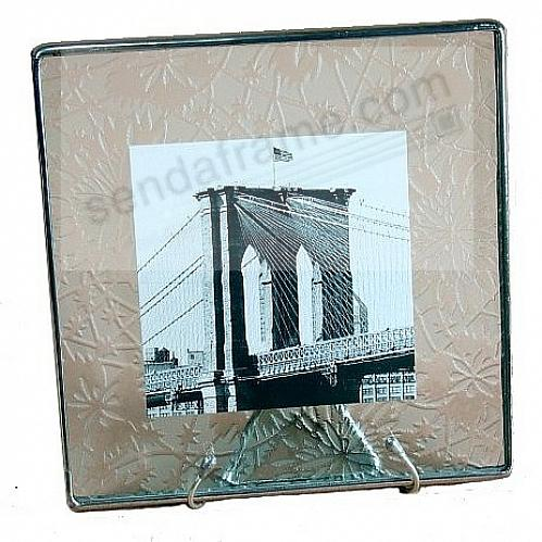 ETCHED-PATTERN Glass Float Frame 8x8/10x10 Silver by Bedford Downing®
