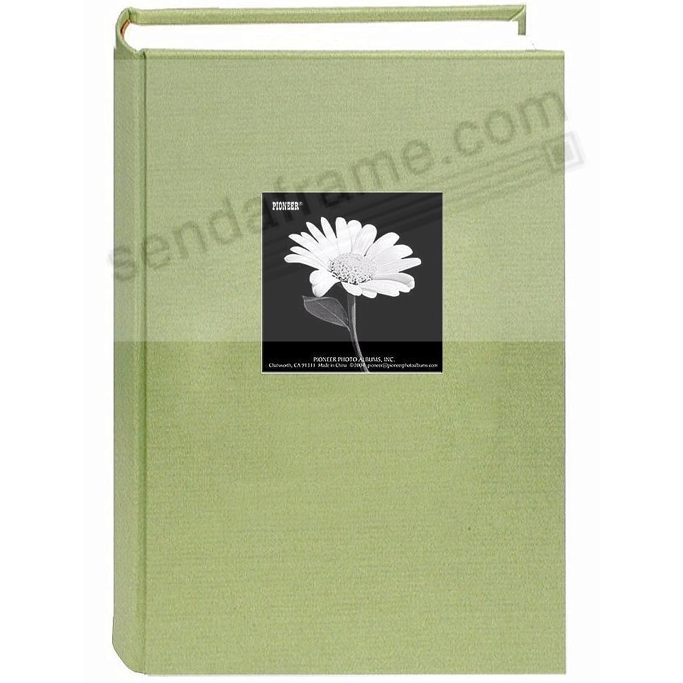 Sage-Green cloth 3-up frame cover 300 pocket photo album by Pioneer®