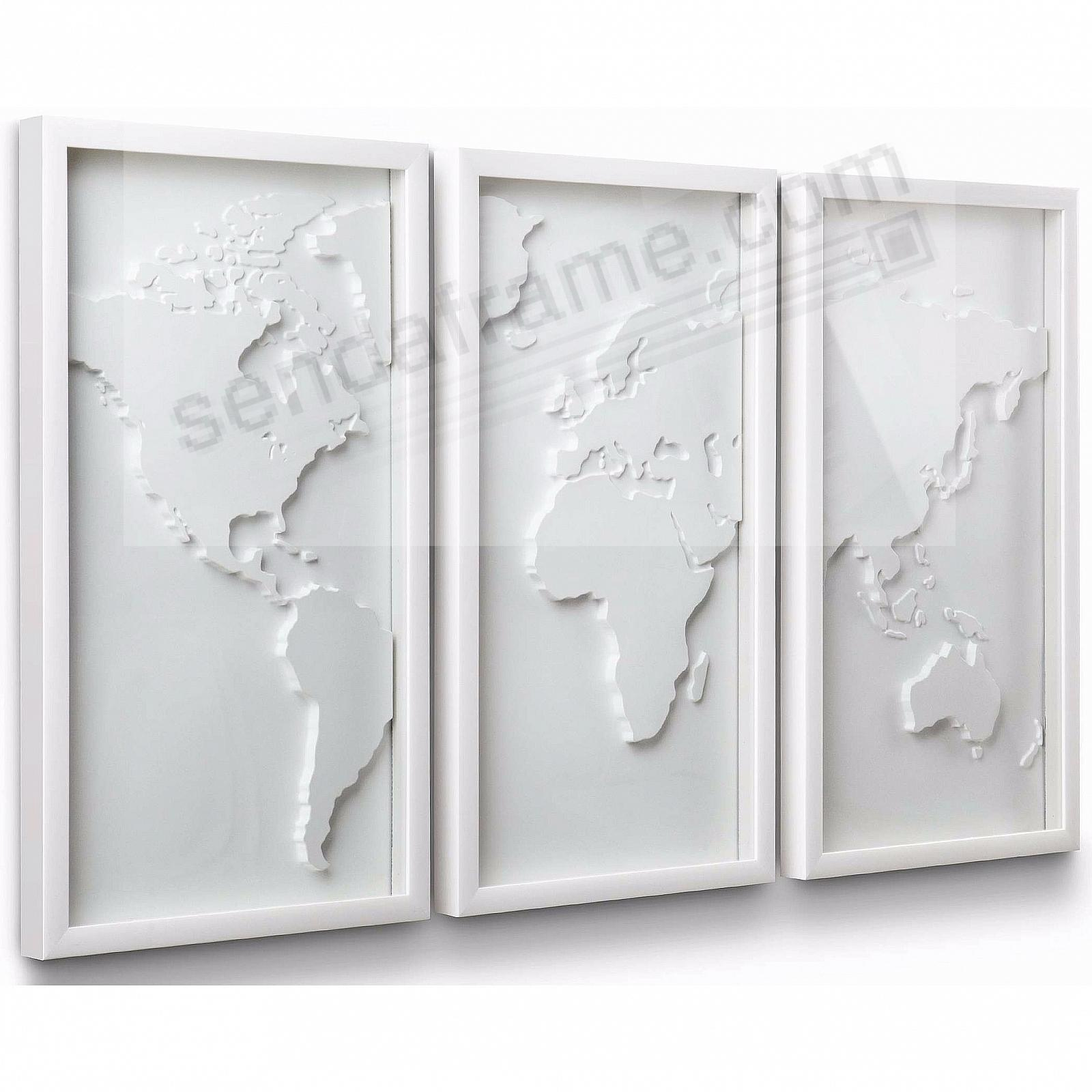 The Original MAPSTER 3-pc White Relief World Map by Umbra® - Picture ...